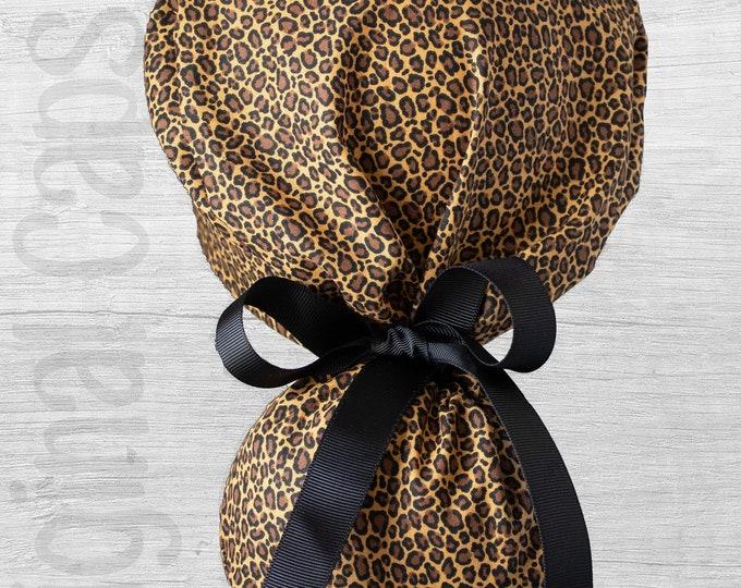 "Mini Leopard Print Design Ponytail Scrub Cap for Women, Scrub Hat, Surgical Hat ""Meg"", Surgical Caps"