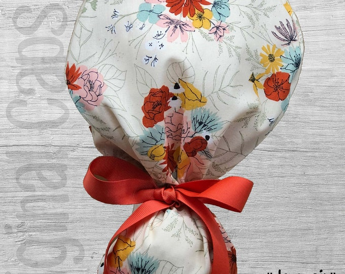 """Mustard, Mint and Orange Floral Print Ponytail Scrub Cap for Women, Scrub Hat, Surgical Hat """"Jermain"""", Surgical Caps"""