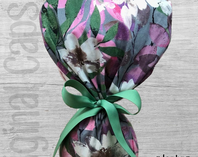 """Muted Watercolor Floral in Sage, Mauve and  Pink Ponytail Scrub Cap for Women, Scrub Hat, Surgical Hat """"Jazlyn"""", Surgical Caps"""