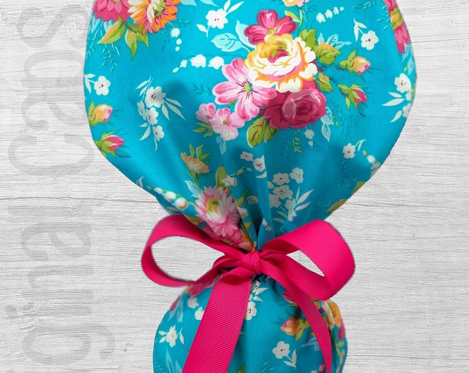 """Turquoise Floral Print Design Ponytail Scrub Cap for Women, Scrub Hat, Surgical Hat """"Mia"""", Surgical Caps"""