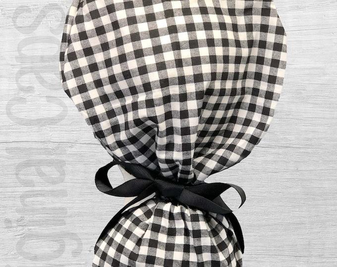 "Classic Black and White Newton Check Print Ponytail Scrub Cap for Women, Scrub Hat, Surgical Hat ""Dallas"""