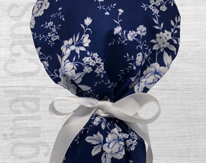 "White Porcelain Floral on Navy Ponytail Scrub Cap for Women, Scrub Hat, Surgical Hat ""Emilia"", Surgical Caps"