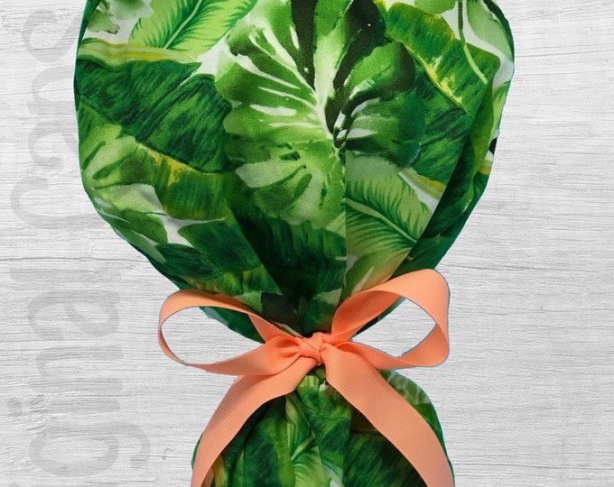 "Tropical Leaves Design Ponytail Scrub Cap for Women, Scrub Hat, Surgical Hat ""Lindsay"""