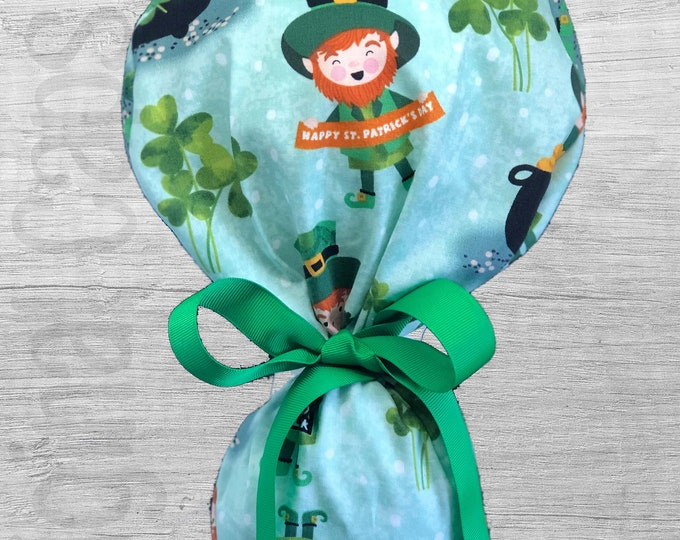 """Leprechaun and Clover on Lt Green St Patrick's Day Design Ponytail Scrub Cap for Women, Scrub Hat, Surgical Hat """"St Patty 2"""", Surgical Caps"""