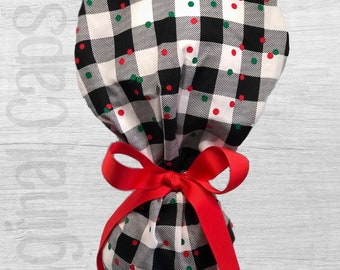 """Holiday Buffalo Check  Design Ponytail Scrub Cap for Women, Scrub Hat, Surgical Hat """"Merry 7"""""""
