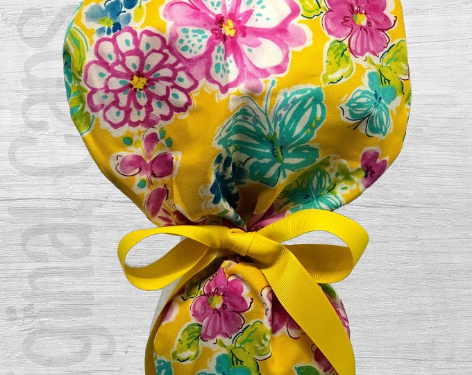 """Pink, Blue Green Floral on Yellow Ponytail Scrub Cap for Women, Scrub Hat, Surgical Hat """"Billie"""""""