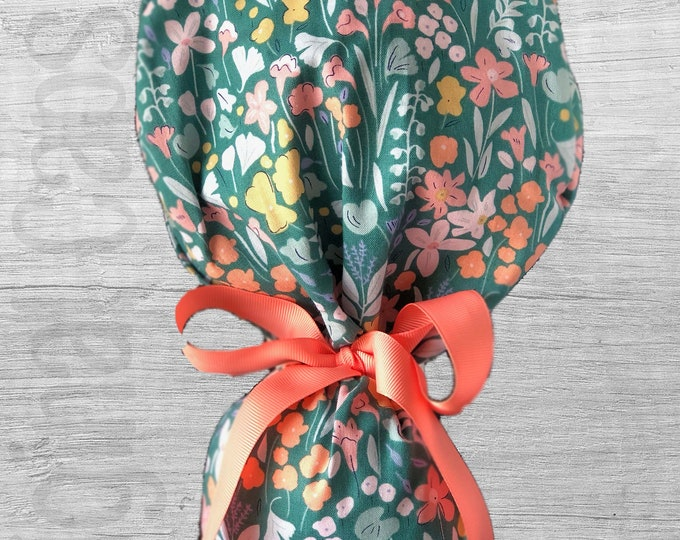 """Floral Meadow on Jade Ponytail Scrub Cap for Women, Scrub Hat, Surgical Hat """"Bexley"""""""