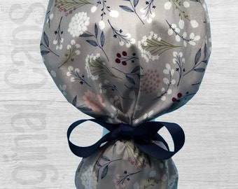 """Field Flowers on Grey Design Ponytail Scrub Cap for Women, Scrub Hat, Surgical Hat """"Morgan"""", Surgical Caps"""