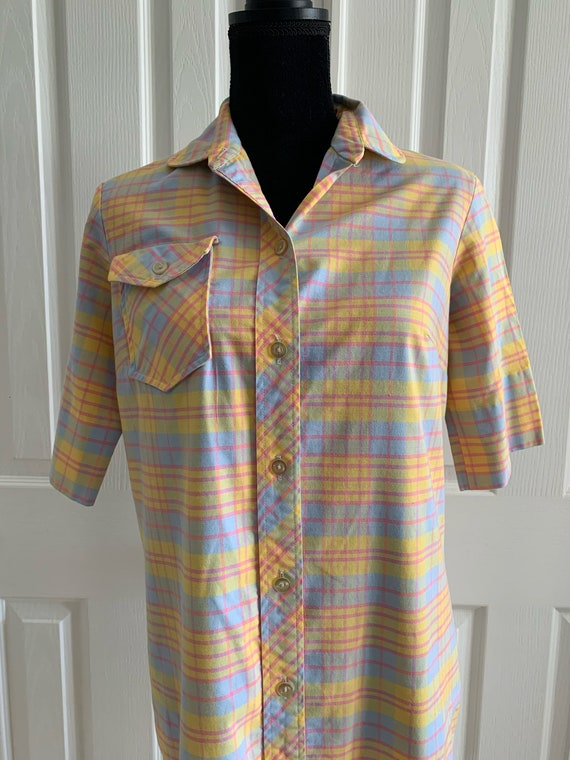 Shirt dress pastel plaid vintage 1970s by Avalon
