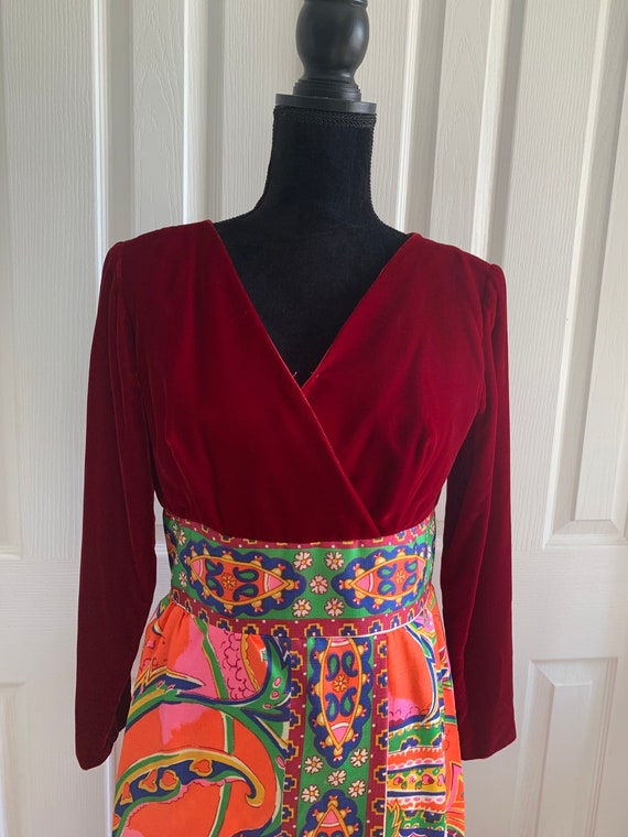 1970's Maxi dress gown velvet paisley