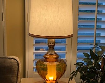 Vintage 3 way mid century amber glass table lamp by Accurate Casting Co.