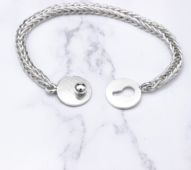 Sterling silver foxtail chain bracelet with button clasp 4*4 mm