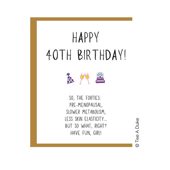Funny Birthday card for Women Wife Sister Friend Female Rude Humour Joke 40 50