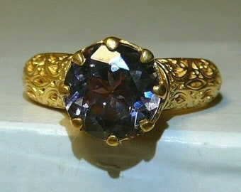 Ring 24k Yellow Gold-Plate Alexandrite Sterling Silver Gemstone Ring