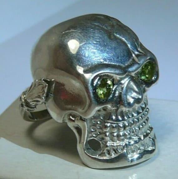Mens Skull Ring Solid Silver 960 Diamonds Pendant