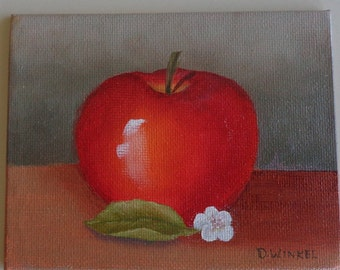 Mini oil painting of apple.  4 by 5 inch painting.