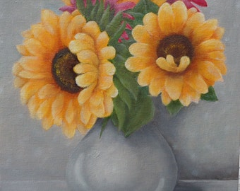 Floral original oil painting.  Sunflower painting on 8 by 10 inch canvas board.