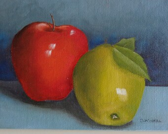 Red and Green apples oil painting.  5 by 7 inch small painting