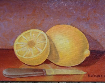 Lemons oil painting, small painting, 5X7 painting