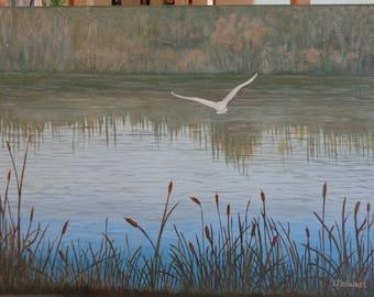 Egret in flight oil painting.