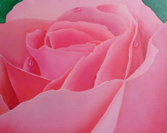 Original oil painting of closeup view of pink rose blossom.