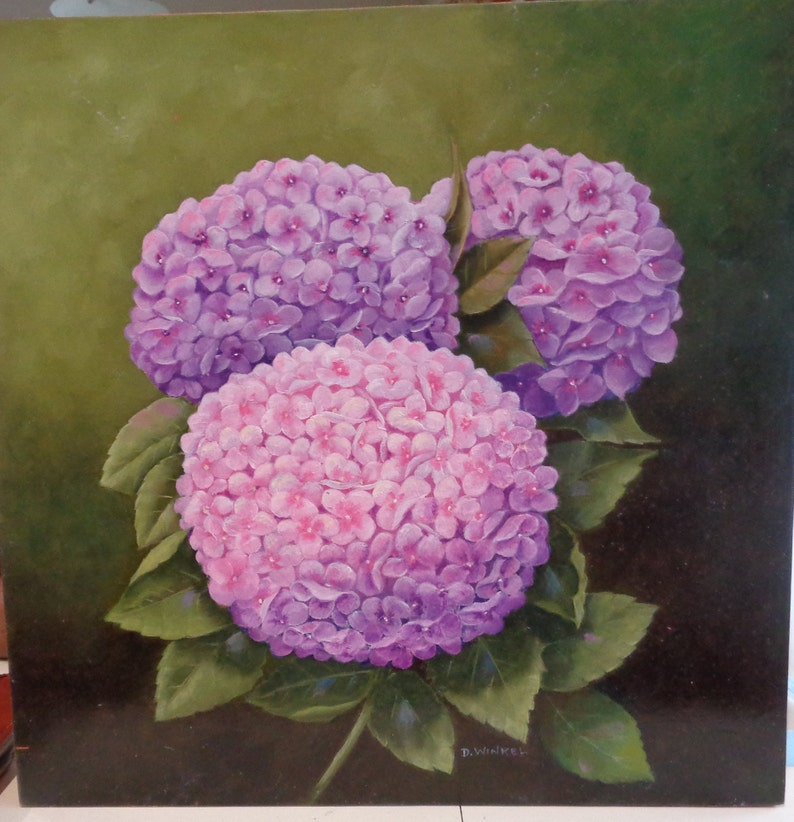 Hydrangea oil painting done on wood panel.