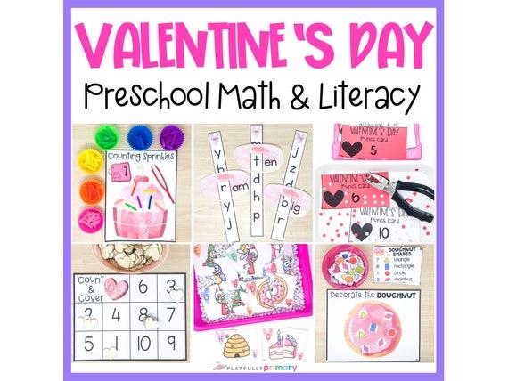 Valentine's Day Preschool Math & Literacy  Homeschool