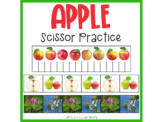 Apple Scissor Strips  Cutting Practice  Preschool Printable
