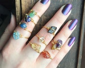 Raw Crystal ring, gemstone ring, wire wrapped crystal rings, stacking rings, healing crystal rings, Gold crystal rings