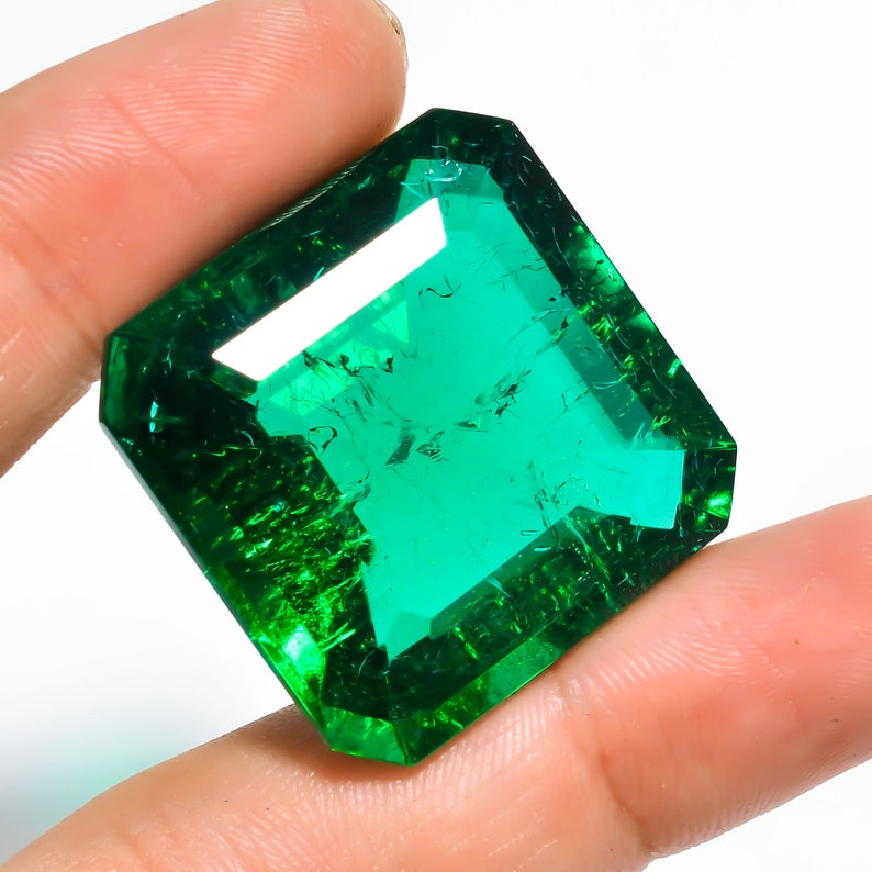 29X29X17 mm R-1945 Stunning Lab Created Emerald Square Shape Cut Stone Loose Gemstone For Making Jewelry 89 Ct