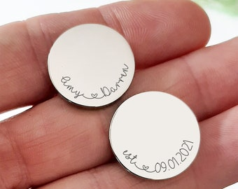 Personalised Engraved Names and Dates Cufflinks, Bride to Groom Wedding Cufflinks,  Bride to Groom Wedding Gift, Anniversary Cufflinks