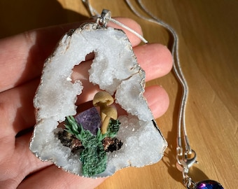 Amethyst Mushroom Green Purple Druzy Agate Terrarium Necklace