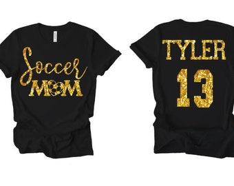Soccer MIMI Rhinestone Iron on T-Shirt Bling Transfer Sports Mom Top C