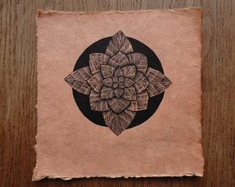 Linocut flower on handmade paper