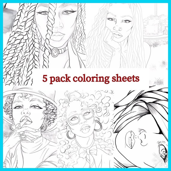 Best Adult Coloring Book Beautiful Black Women Blm Art Etsy