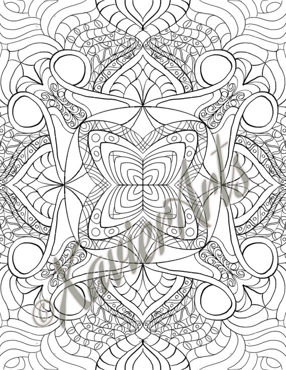 Mandala Coloring Page Adult Coloring Kids Coloring Page Zen Etsy
