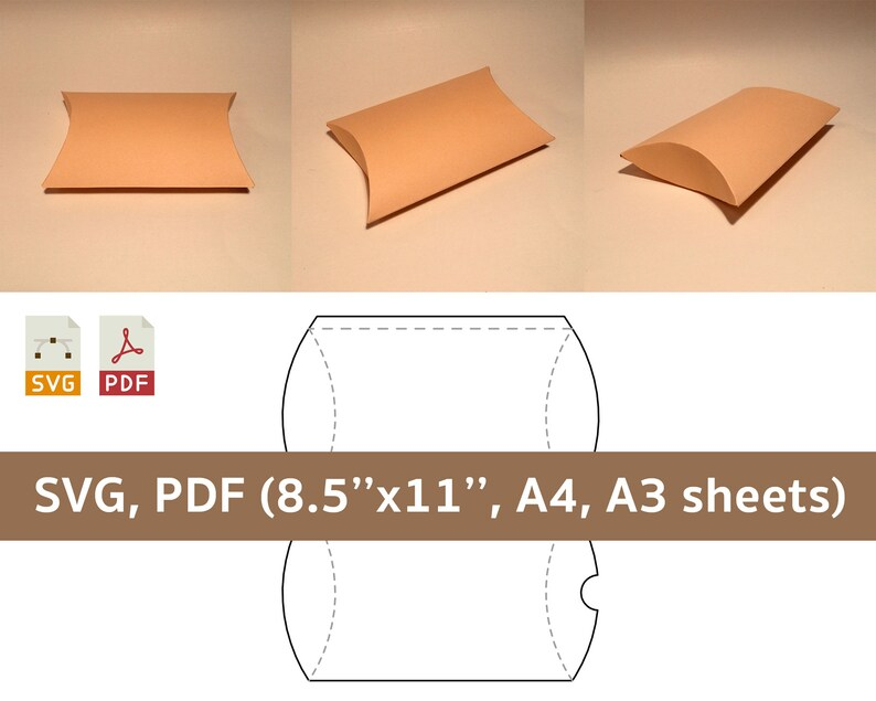 Pillow box template soap box wedding favor box birthday image 0