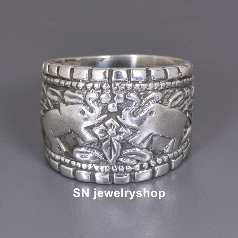 Sterling Silver Boho ring,Handmade ring Men/'s ring Gift for her Vintage ring Women/'s ring,Dainty boho ring,Floral ring,Long Mandala ring