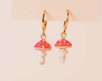 Toadstool Mushroom Earrings, Miniature Nature Jewellery, Cute Gift Idea, Huggies Earrings, Dainty & Kawaii, 24k Gold Plated Brass.