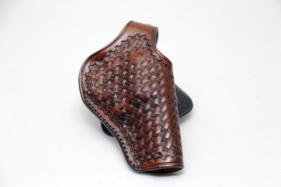 Pancake Leather Holster for Kimber Micro 9 Right Hand Draw Brown or Black Basket Weave Genuine Leather