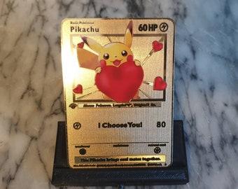 GOLD Anniversary Gift I Choose You Pokemon Card Boyfriend Girlfriend Him Her Birthday Pikachu Valentines Day Metal Love One 1st Year Nerdy