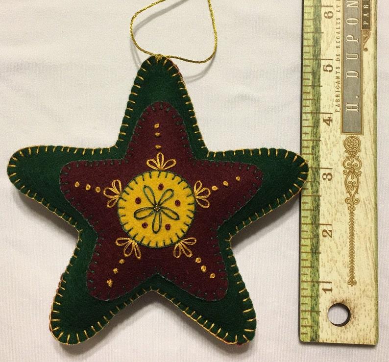 Folk Art Star Ornament Set of 2 Rustic Christmas Felt
