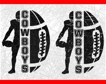 Dallas City Football Ball Silhouette Gift Cut File // DxF // EPS // PDF // PnG // SVG // Silhouette Cameo // Cricut Design