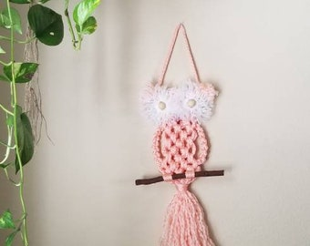 Pink Owl Pendant Braided Macrame Cotton Necklace 19in