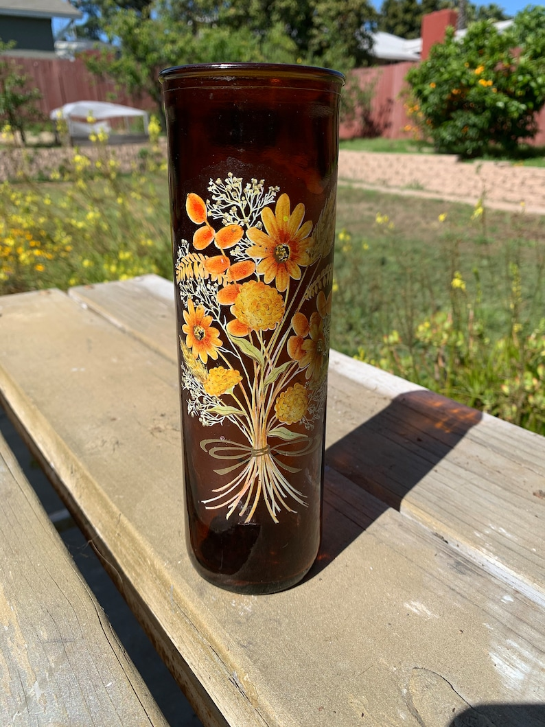 Vintage Amber Tall Candle Holder with Flowers