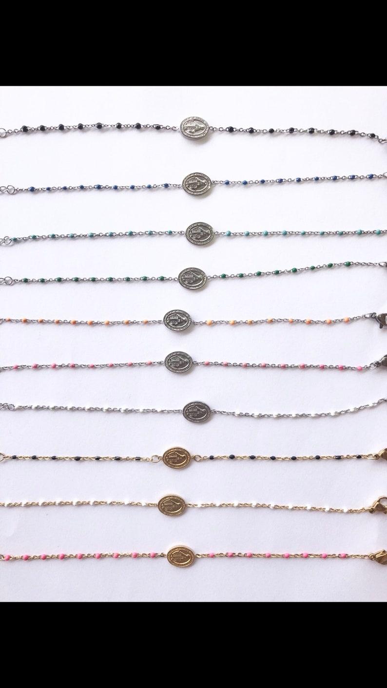 Virgin beaded Madonna bracelet marries stainless steel cross for women