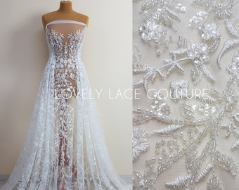 Lovely Flower bridal lace fabric with beads and sequins by yards, Couture Lace Fabric, luxurious beaded wedding dress lace LL-1399
