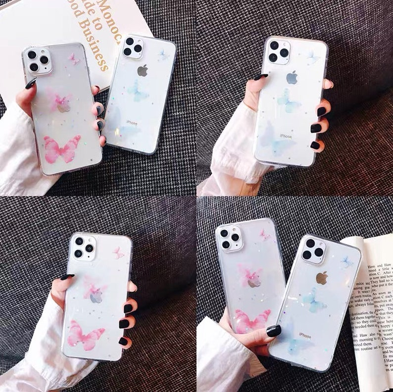 Aesthetic Butterfly iPhone Case,Pink,Blue Butterfly Charm iPhone 11,Nature Animal Lover Phone Case Cute,Artistic Creative iPhone XS Max Case