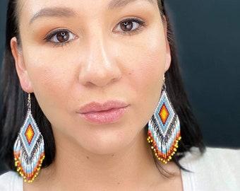 Beaded Earrings, Blue, Red, White, Yellow, Fire, Fringe, Tassel, Indigenous & Native Style, Beadwork, First Nations, Boho, Geometric