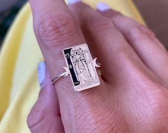 High priestess tarot card 925 sterling silver ring